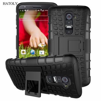 For LG G2 Case F320 D800 D802 F320S F320K F320L Heavy Duty Phone Cover Hybrid Shockproof Hard Armor Rubber TPU Coque w Stand (