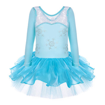 Anna Princess Girls Elsa Snowflake Ballet Dress Leotard Short Long Sleeve Dancewear for 2-8Y Ballet Tutu Party Dress Dance Dress