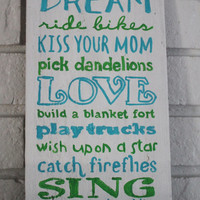 Rustic Handmade Hand Painted Play Sign For Little Boys