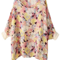 Pink Batwing Sleeve Floral Print Blouse