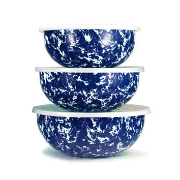 So into this design on Fab! Enamelware Mixing Bowls Cobalt #FabForAll