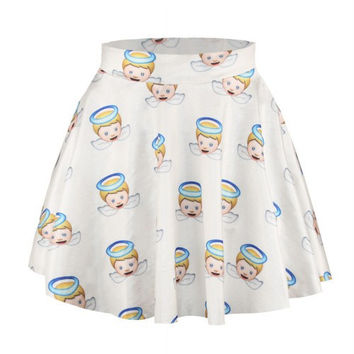 Emoji Angel Expression Printed Summer Style Short Skirts