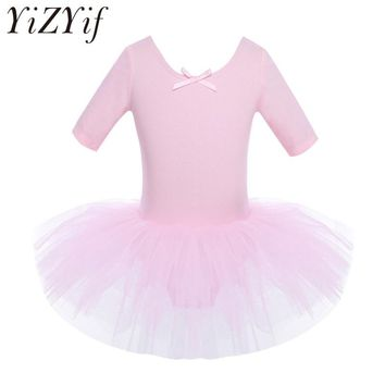 YiZYiF Children Kids Half Sleeves Cotton Dance Ballet Tutu Dress Leotard Girl Gymnastics Dancewear Ballerina Party Costumes
