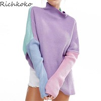 Patchwork Loose Turtleneck Pullover Sweater