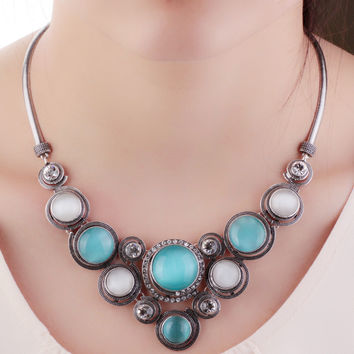 Original Lenora Abella Opal stone chunky necklace for women vintage big choker necklace colar chain Jewelry Alternative Measures VIENNOIS - Mother's Day Bride Wedding Gift