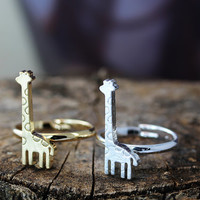 Giraffe Ring Simple Animal Jewelry Adjustable Unique Ring Celebration Gift Idea Color Select 1piece Gold Silver