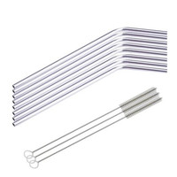8 Pcs Stainless Steel Metal Drinking Straw Reusable Straws + 3 Cleaner Brush Kit Elegant Practical Fashion  [8270571329]