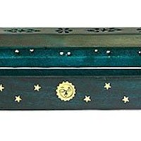 "Wooden Coffin Incense Burner - Green Sun and Moon 12"" - Brass Inlays - Storage Compartment"