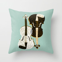 Two Violins Throw Pillow by Prelude Posters