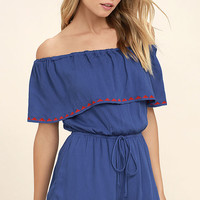 Oaxaca Royal Blue Embroidered Off-the-Shoulder Romper