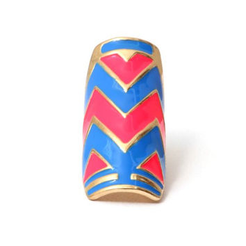 Neon Chevron Cocktail Ring Size 6 Pink Blue Tribal RB36 Zig Zag Striped Plate Armor Fashion Jewelry