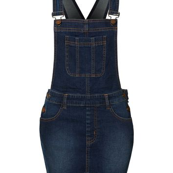 LE3NO Womens Stretchy Distressed Frayed Hem Blue Denim Overall Dress with Pockets