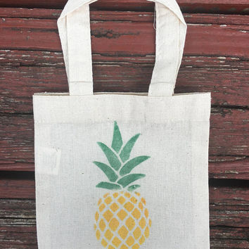 Mini Tote Bag / Hand Stamped Pineapple Bag / Cotton Eco Bag / Reusable Gift Bag / Party Favor Bag / Toddle Tote / 6 x 6 inches