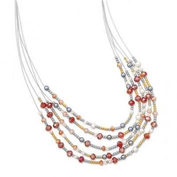 Graduated Multistrand Red and Peach Glass Bead Fashion Necklace