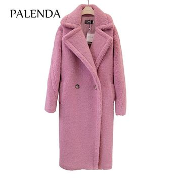 new teddy coat faux fur women winter long coat 4 color ship within 3 days
