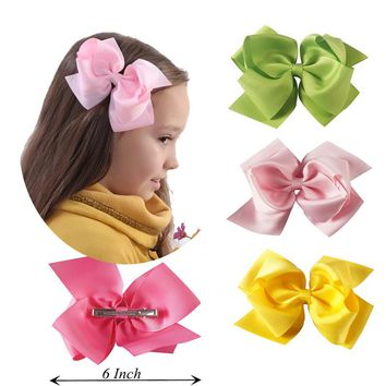 2Pcs/lot Fashion 6'' Large Hair Bows With Clips For Kids Handmade Grosgrain Ribbon Hairbow Barrettes Hair Accessories For Girl