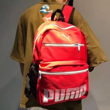 PUMA Fashion New Letter Print High Capacity Leather Couple Backpack Bag Red