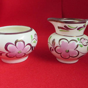 Hand Painted Sugar Creamer Set, Vintage Gray's Pottery, British Gold Luster Sugar Bowl Creamer