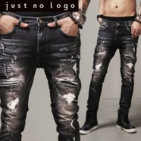 Cheap Men/Males Designer Fashion Zipper Hiphop Black/Dark Biker/Motorcycle Denim Jeans Slim Skinny Straight Ripped Punk Pants