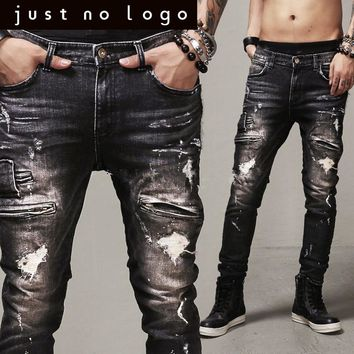 Men/Males Designer Fashion Zipper Hiphop Black/Dark Biker/Motorcycle Denim Jeans Slim Skinny Straight Ripped Punk Pants