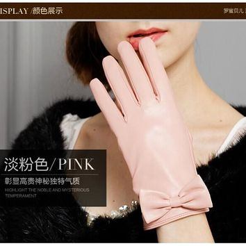 Direct Selling 2017 Winter Solid Pink Genuine Leather Women Gloves Fashion Sheepskin Glove Warm Thermal Free Shipping