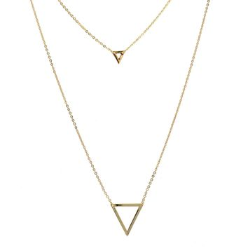 Geometric Series Layering Double Triangle Strand Necklace