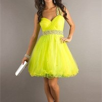 Yellow A-line One Shoulder Empire Waist with Beadings Short Tulle Prom Dress from dressesinuk