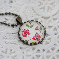 Vintage Floral Design Pendant, Painted Pendant, Vintage Flower Necklace, Vintage Style Romantic Jewelry Spring Necklace, OOAK Gift for Her