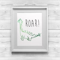 Printable Nursery Art | Roar! | Dinosaur Print | 8x10 Printable Art | Printable Baby Room Decor