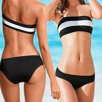 Black White bikini set Beach wear Swimwear bathing suit Swimsuit