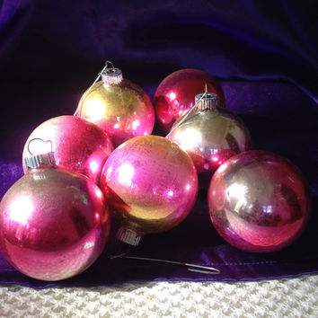1970s Shiny Brite Ornaments, One Dozen, Ombre colored Rose Gold and Silver Glass Balls, Vintage Shabby Christmas Decor