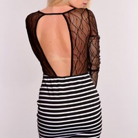 Black White Striped Mesh Cutout Dress