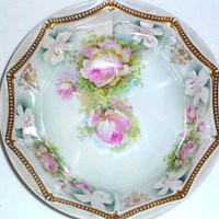 Antique - collectibles - Bowl -  P.K Silesia -German - china - home decor-shabby chic-roses--housewares- kitchen- Table