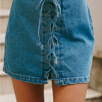 California Blue Skirt Denim