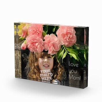 Custom Photo with Carnations, Mothers Day Gift Photo Block