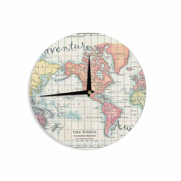 "Catherine Holcombe ""Adventure Awaits World Map"" Beige Pink Mixed Media Vintage Travel Wall Clock"