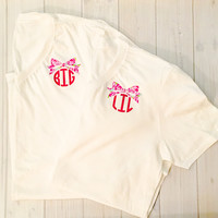 Big Little Sorority Lilly Pulitzer Monogrammed Short Sleeve Top, Sorority Top, Bid Day