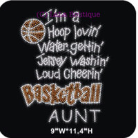 Basketball AUNT iron on rhinestone transfer - DIY heat transfer, hotfix, hot fix, heat press, bling, basket, ball, spirit, shirt, applique