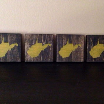 West Virginia Wood Coasters, Custom West Virginia Coasters, Set of 4, Stained and Hand Painted, Personalize, West Virginia decor