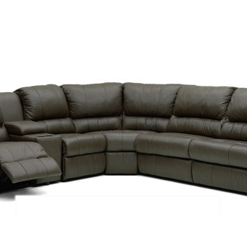Large Reclining True Sectional Leather Sleeper Sofa with Console Melrose by Palliser