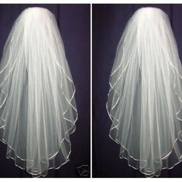 cheap simple l.5m white/Ivory long beading Wedding Veil Wedding tiara wedding veil/bridal veil/bridal accessories/head veil/tulle veil [7983517319]