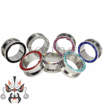 Free shipping 9 color stainless steel ear tunnels plugs stretchers piercing jewelry