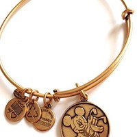 Disney World Alex and Ani Mickey Mouse Pluto Gold Charm Bangle Bracelet