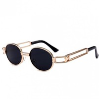 Hollow Out Decorated Metal Full Frame Oval Sunglasses