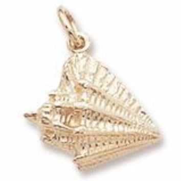 Conch Shell Charm In Yellow Gold