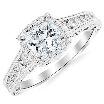 CERTIFIED | 1.75 Carat 14K White Gold Vintage Halo Style Channel Set Round Brilliant Diamond Engagement Ring Milgrain with a 1 Carat Moissanite Center (Platinum, Yellow, White, Rose)