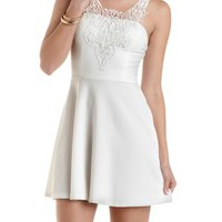 Embroidered Lace Yoke Skater Dress by Charlotte Russe