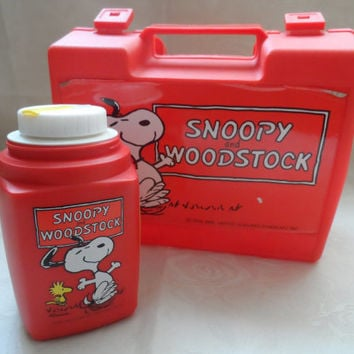 Vintage snoopy lunchbox and flask