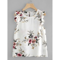 Frilled Armhole Button Closure Back Shell Top White Floral