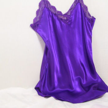 SALE + Free Ship Victoria Secret Nightie Satin and Lace Short Nightgown Sexy Purple Charmuese Satin Bridal Honeymoon